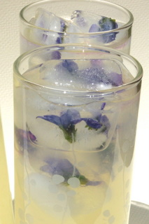 Homemade Lemonade with Violet Ice Cubes